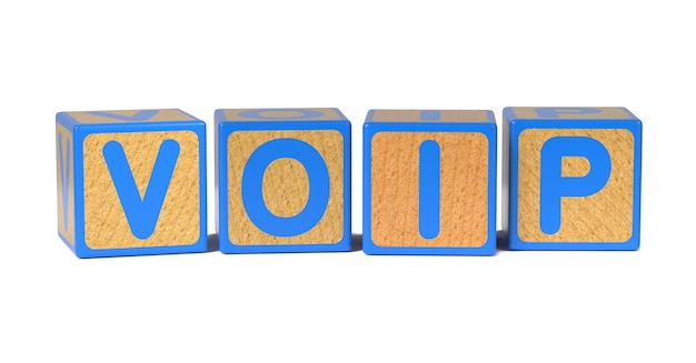Voip on colored wooden childrens alphabet block isolated on white.