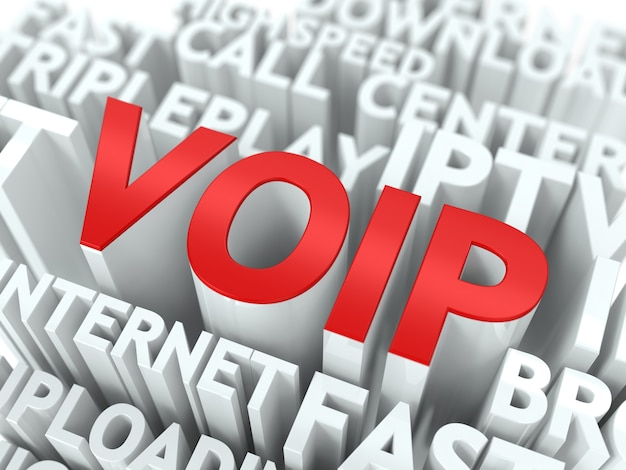 Voip text 3d surrounded by a cloud white words