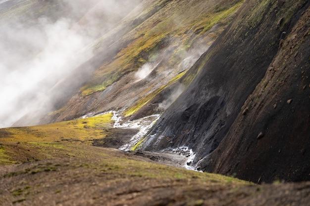 Вулканический активный ландшафт с лягушкой, ледником, холмами и зеленым мхом