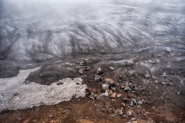 Volcanic landscape in the crater of mutnovsky volcano. far east of russia, kamchatka peninsula