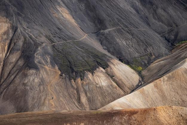 Вулканический пейзаж тропы лаугавегур ландманналаугар, исландия