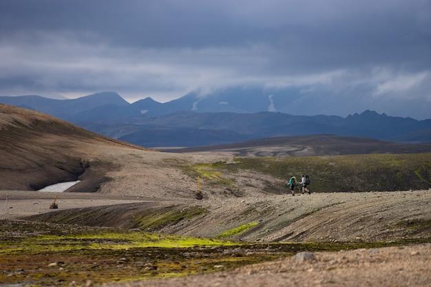 ロイガヴェーグルトレイルの火山の風景。ランドマンナロイガル、アイスランド