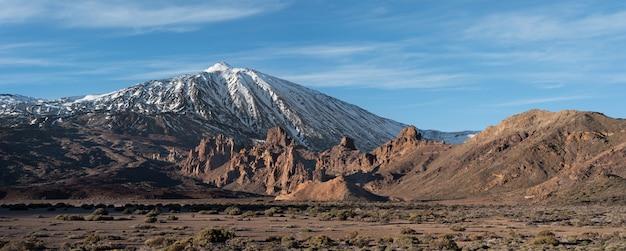 Volcanic landscape panorama of teide volcano in tenerife, canary islands, spain.