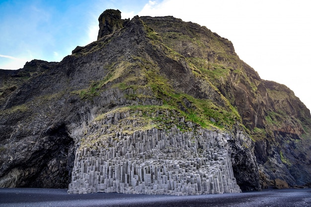 Volcanic rock formation at black sand beach ,vik, iceland