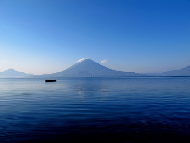 The volcano on atitlan lake in guatemala