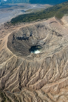 Volcano crater surrounded by mountains