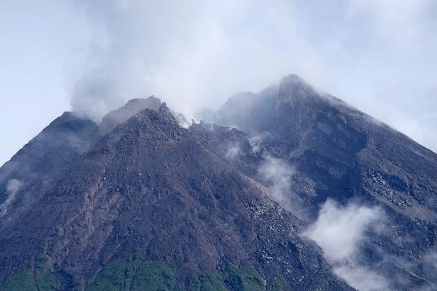 Volcano eruption of mount merapi in yogyakarta java island indonesia