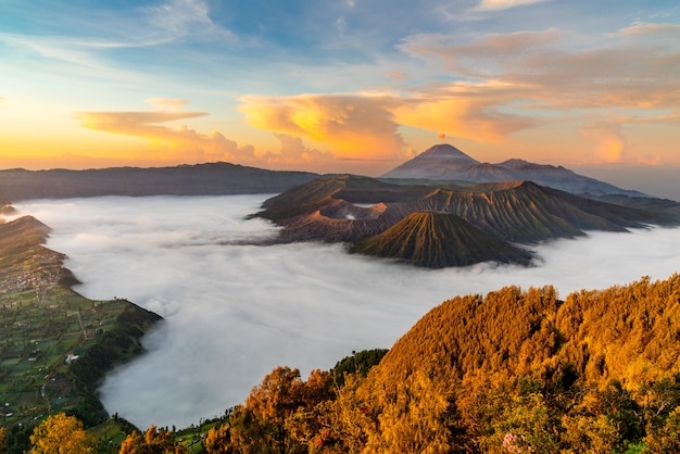Volcano with mist at sunset
