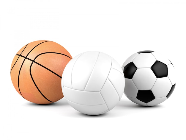 Volleyball, soccer ball, basketball, sport balls isolated on white background, 3d rendering