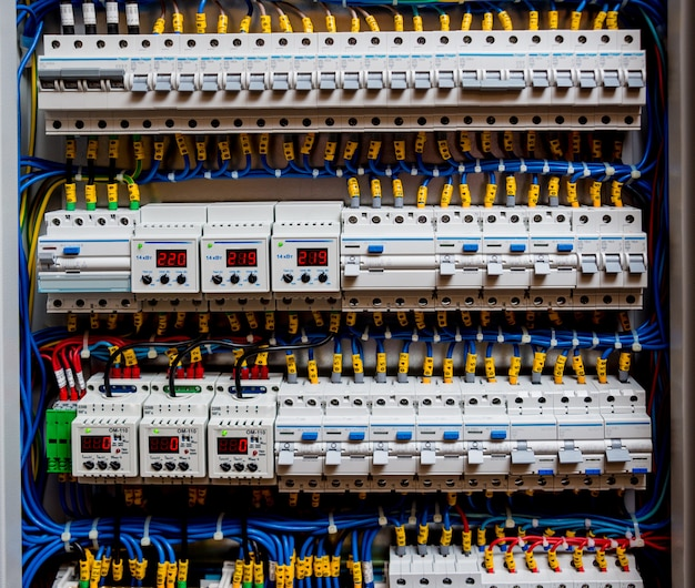 Voltage switchboard with circuit breakers. electrical background.