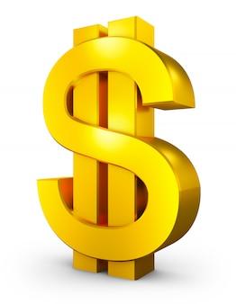 Объемный знак доллара золотого цвета. 3d-рендеринг.