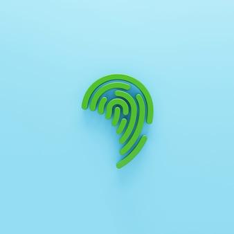 파란색 배경에 고립 된 체적 녹색 지문 아이콘 3d 렌더링 된 디지털 기호