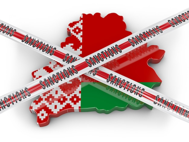 Volumetric map of belarus with the flag and protective tape with the inscription sanctions. 3d render