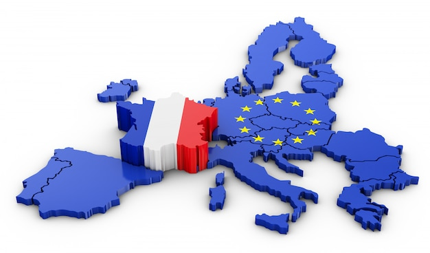 Volumetric map of the france and the eu. 3d rendering.