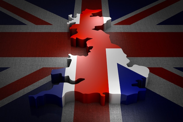 Volumetric map of the great britain on the flag.