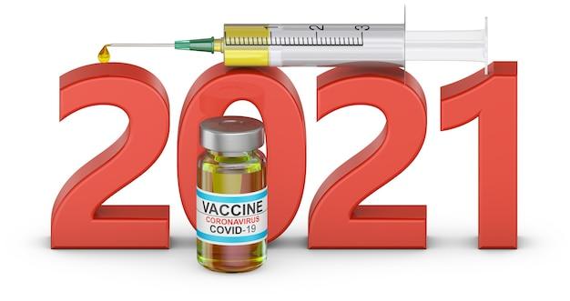 주사기와 covid 19 백신 병이 포함 된 볼륨 텍스트 2021