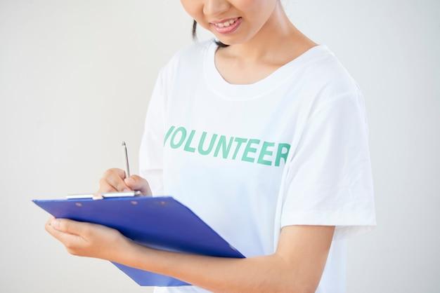 Volunteer doing paperwork