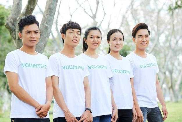 Volunteer group standing outdoors