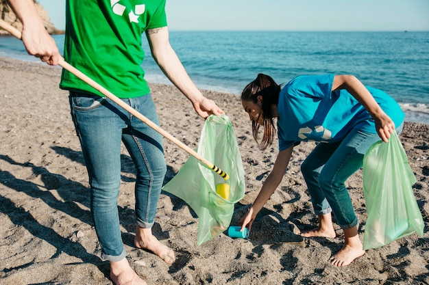 Volunteers collecting waste at the beach
