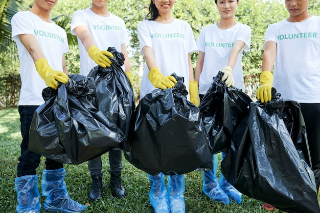 Volunteers picking up the rubbish