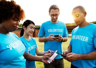 Volunteers posting on social media