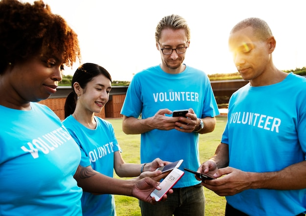 Volunteers posting on social media
