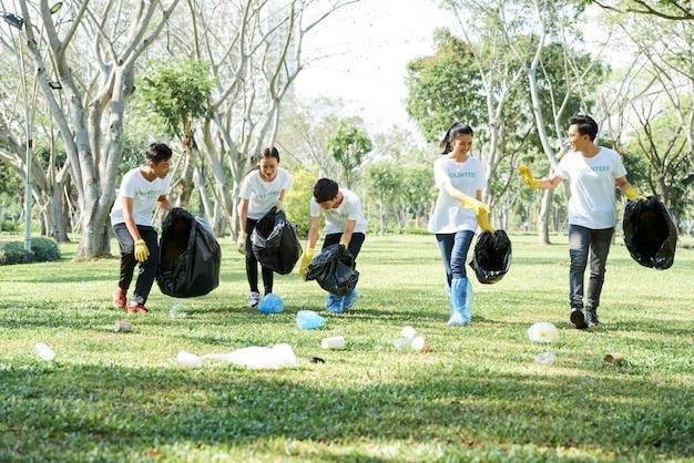 Volunteers working in the park
