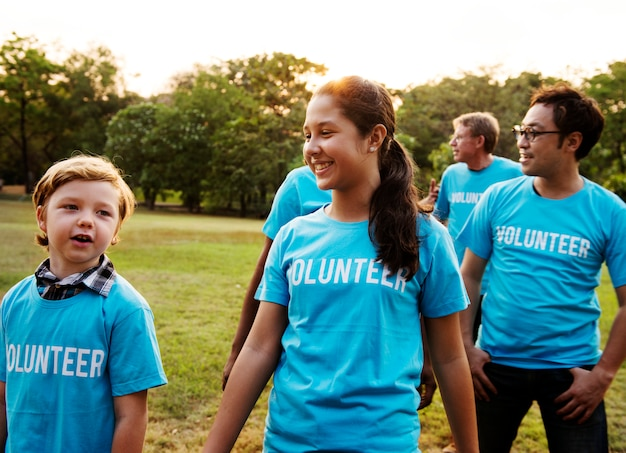 Voluteer group of people for charity donation in the park