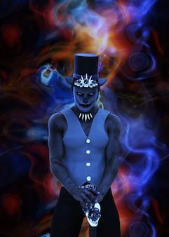 부두교 샤먼, 아프리카 마법사 남자, 3d 삽화를 불러냅니다.