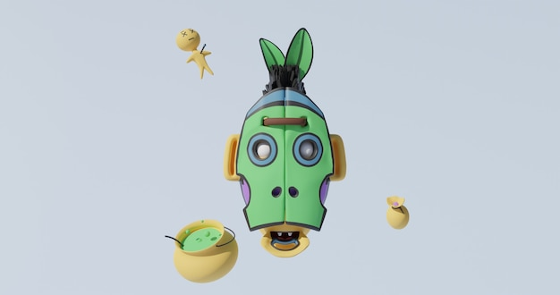 Voodoo skull, puppet, potion. 3d rendered illustration in 4k.