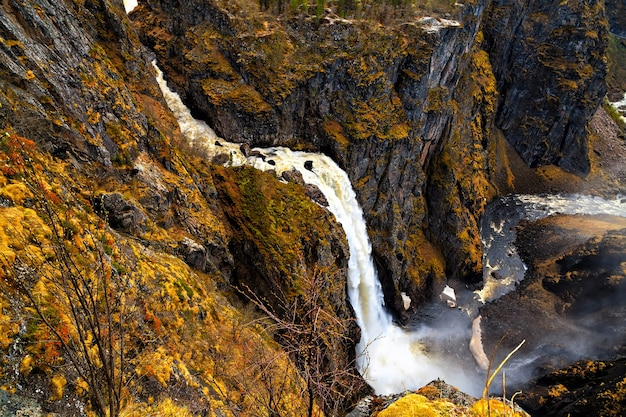 Voringfossen, norway, the largest waterfall in the country