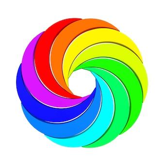 Vortex color aperture wheel on a white background. 3d rendering