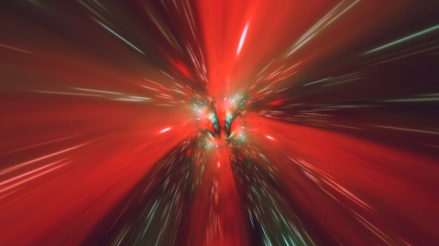 Vortex hyperspace tunnel wormhole time and space, warp science fiction background 3d