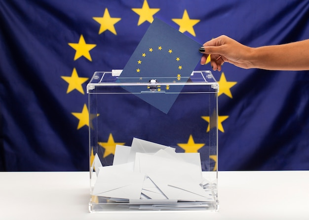 Бюллетень для голосования на фоне европейского союза