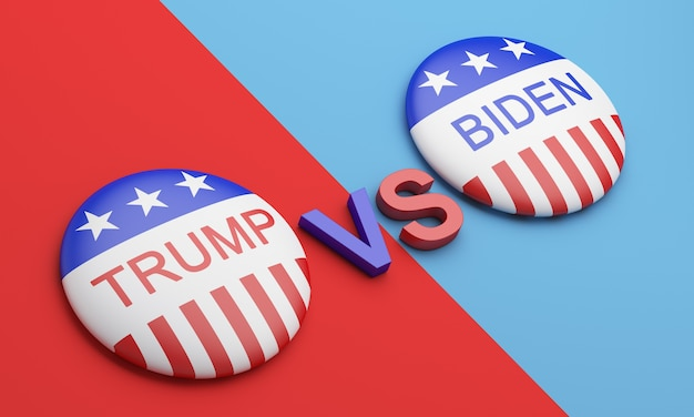 投票ボタンバッジトランプ対バイデン