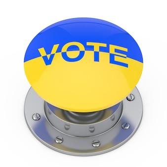 흰색 배경에 우크라이나 국기와 투표 기호로 투표 버튼 손잡이. 3d 렌더링