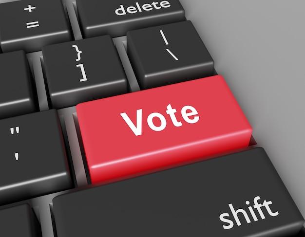 投票の概念。コンピュータのキーボードのボタンに単語投票