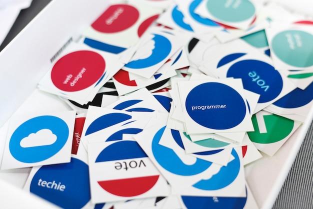 Vote stickers for web desgin team members colleagues