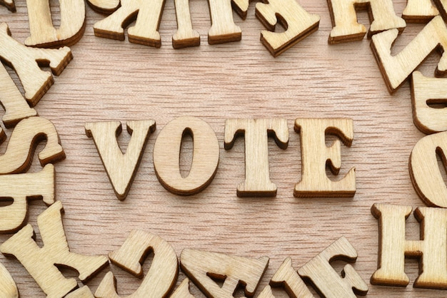 Vote word made with wooden letters. election or choice concept