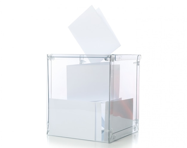 Voting box with bulletins isolated