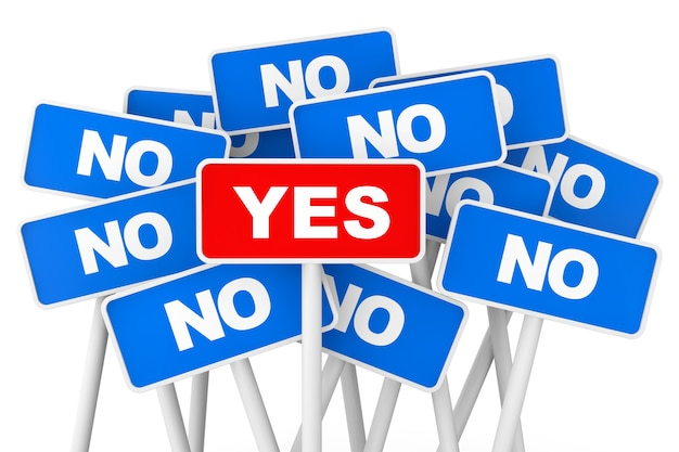 Voting concept. yes and no banner signs on a white background