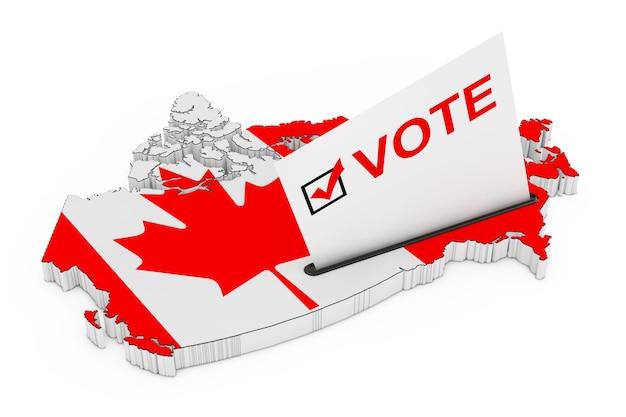 カナダの概念での投票。白い背景の上の旗とカナダの地図の形で投票箱に半分挿入された投票カード。 3dレンダリング