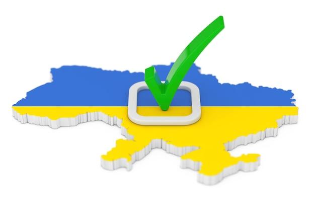 우크라이나 개념에서 투표. 흰색 배경에 플래그가 있는 우크라이나 지도 모양 위에 녹색 확인 표시 아이콘을 투표합니다. 3d 렌더링