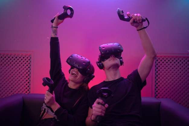 Vr glasses on people. victory in the game.