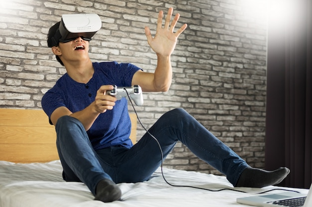 The vr headset design is generic and no logos