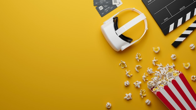 Vr headset popcorn movie ticket movie clapper copy space for text on yellow background 3d render