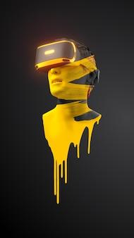 Vr-гарнитура, техника. 3d визуализация человека в очках виртуальной реальности на черном фоне.