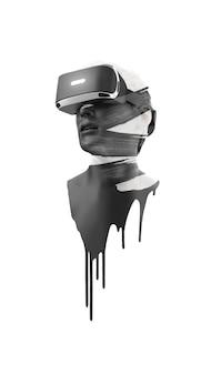 Vr-гарнитура, техника. 3d визуализация человека в очках виртуальной реальности на белом фоне