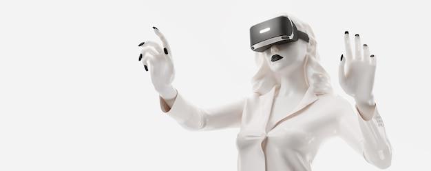 Vr-гарнитура, техника. 3d визуализация женщины в очках виртуальной реальности на черном фоне.