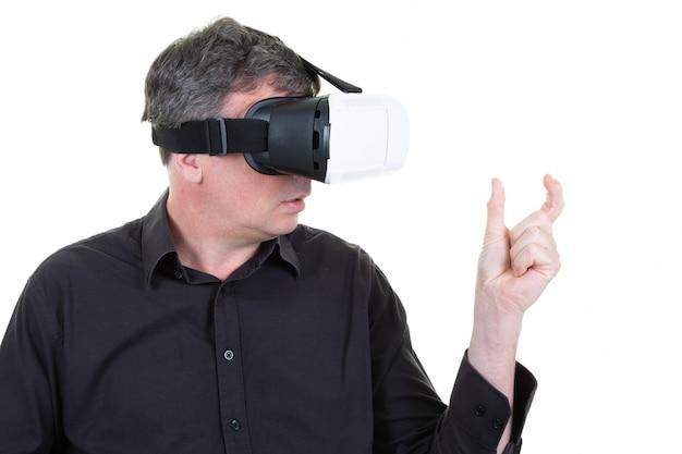 Vr man experiencing virtual reality